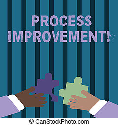 Text sign showing Process Improvement. Conceptual photo ongoing effort to improve products services or processes Two Hands Holding Colorful Jigsaw Puzzle Pieces about to Interlock the Tiles.
