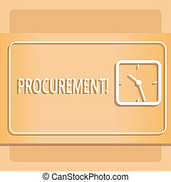 Text sign showing Procurement. Conceptual photo Procuring Purchase of equipment and supplies Modern Design of Transparent Square Analog Clock on Two Tone Pastel Backdrop.