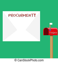 Text sign showing Procurment. Conceptual photo action of acquiring military equipment and supplies Blank Big White Envelope and Open Red Mailbox with Small Flag Up Signalling.