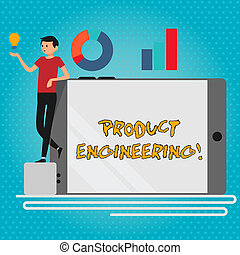 Text sign showing Product Engineering. Conceptual photo process of designing and developing a device or a system Man Leaning on Blank Smartphone Turned on Its Side with Graph and Idea Icon.