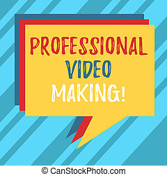 Text sign showing Professional Video Making. Conceptual photo Filmmaking Images digitally recorded by an expert Stack of Speech Bubble Different Color Blank Colorful Piled Text Balloon.