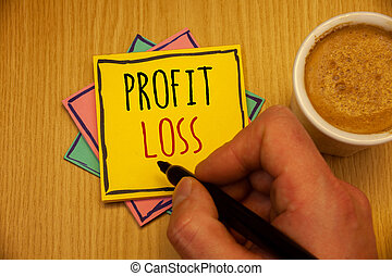 Text sign showing Profit Loss. Conceptual photos Financial year end account contains total revenues and expenses Man creating yellow pink blue papers Hand holding black pen cup of coffee.