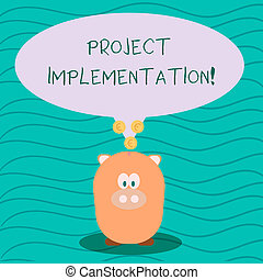 Text sign showing Project Implementation. Conceptual photo phase where visions and plans become reality Color Speech Bubble with Gold Euro Coins on its Tail Pointing to Piggy Bank.