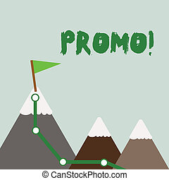 Text sign showing Promo. Conceptual photo Piece of advertising Discount Special Offer Sale Three Mountains with Hiking Trail and White Snowy Top with Flag on One Peak.