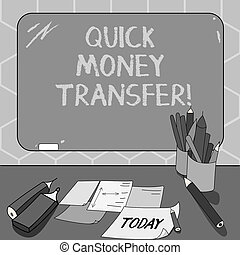Text sign showing Quick Money Transfer. Conceptual photo...