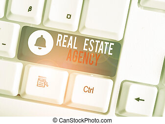 Text sign showing Real Estate Agency. Business photo text Business Entity Arrange Sell Rent Lease Manage Properties White pc keyboard with empty note paper above white background key copy space