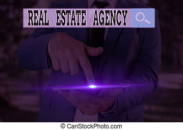 Text sign showing Real Estate Agency. Business photo text Business Entity Arrange Sell Rent Lease Manage Properties