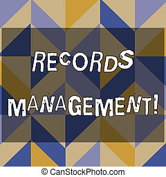 Text sign showing Records Management. Conceptual photo administration of records and documented information 3D Formation of Geometric Shapes Creating Cubes and Blocks with Perspective.