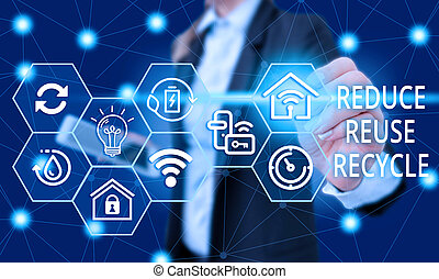 Text sign showing Reduce Reuse Recycle. Conceptual photo environmentallyresponsible consumer behavior Female human wear formal work suit presenting presentation use smart device.