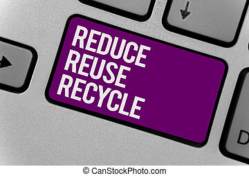 Text sign showing Reduce Reuse Recycle. Conceptual photo...