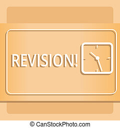Text sign showing Revision. Conceptual photo Rechecking Before Proceeding Self Improvement Preparation Modern Design of Transparent Square Analog Clock on Two Tone Pastel Backdrop.