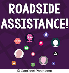 Text sign showing Roadside Assistance. Conceptual photo helps drivers when their vehicle breaks down on the road Networking Technical Icons with Chat Heads Scattered on Screen for Link Up.