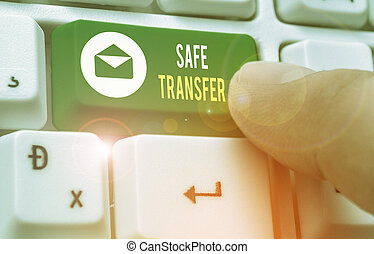 Text sign showing Safe Transfer. Conceptual photo electronic funds transfer from one demonstrating to another.