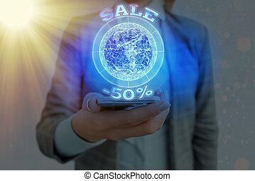 Text sign showing Sale 50 Percent. Conceptual photo A promo ...