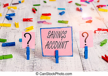 Text sign showing Savings Account. Conceptual photo an interestbearing deposit account held at a bank Scribbled and crumbling sheet with paper clips placed on the wooden table.