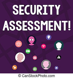 Text sign showing Security Assessment. Conceptual photo study to locate IT security vulnerabilities and risks Networking Technical Icons with Chat Heads Scattered on Screen for Link Up.