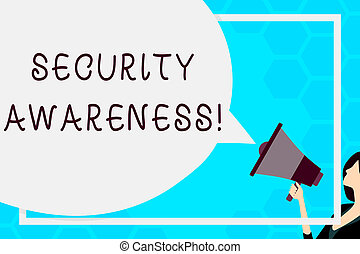 Text sign showing Security Awareness. Business photo text educating employees about the computer security Huge Blank Speech Bubble Round Shape. Slim Woman Holding Colorful Megaphone
