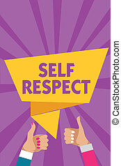 Text sign showing Self Respect. Conceptual photo Pride and confidence in oneself Stand up for yourself Man woman hands thumbs up approval speech bubble origami rays background.