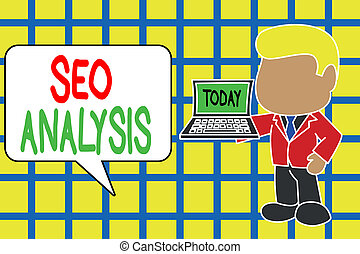 Text sign showing Seo Analysis. Conceptual photo tool helps showing to study on how to improve a website ranking Standing professional businessman holding open laptop right hand side.