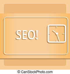 Text sign showing Seo. Conceptual photo Search engine optimization increase in online marketing channel Modern Design of Transparent Square Analog Clock on Two Tone Pastel Backdrop.
