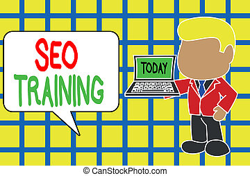 Text sign showing Seo Training. Conceptual photo learn ...