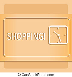 Text sign showing Shopping. Conceptual photo Shopper customer purchase goods products store experience Modern Design of Transparent Square Analog Clock on Two Tone Pastel Backdrop.