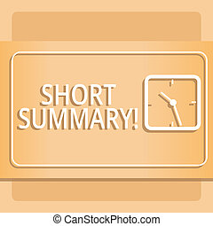 Text sign showing Short Summary. Conceptual photo Brief statement of main points clear Modern Design of Transparent Square Analog Clock on Two Tone Pastel Backdrop.