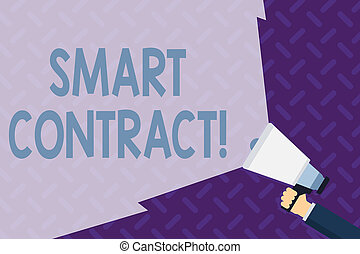 Text sign showing Smart Contract. Conceptual photo the computer protocol running on top of a block chain Hand Holding Megaphone with Blank Wide Beam for Extending the Volume Range.