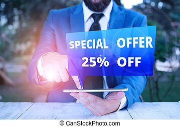 Text sign showing Special Offer 25 Off. Business photo showcasing Discounts promotion Sales Retail Marketing Offer Businessman with pointing finger in front of him