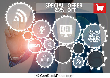 Text sign showing Special Offer 25 Percent Off. Business photo showcasing Discounts promotion Sales Retail Marketing Offer Male human wear formal work suit presenting presentation using smart device
