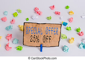 Text sign showing Special Offer 25 Percent Off. Business photo text Discounts promotion Sales Retail Marketing Offer Colored crumpled papers empty reminder white floor background clothespin
