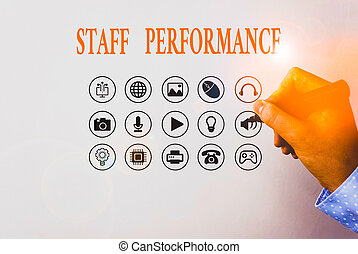 Text sign showing Staff Perforanalysisce. Conceptual photo ...
