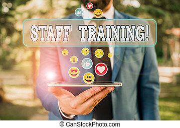 Text sign showing Staff Training. Conceptual photo learn ...