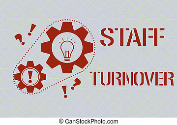 Text sign showing Staff Turnover. Conceptual photo The percentage of workers that replaced by new employees.