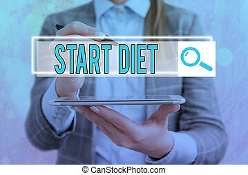 Text sign showing Start Diet. Conceptual photo the practice of eating food in a regulated and supervised fashion Web search digital information futuristic technology network connection.
