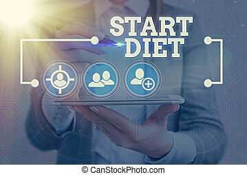 Text sign showing Start Diet. Conceptual photo the practice of eating food in a regulated and supervised fashion Information digital technology network connection infographic elements icon.
