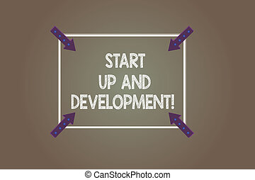 Text sign showing Start Up And Development. Conceptual photo New business success corporate project strategy Square Outline with Corner Arrows Pointing Inwards on Color Background.