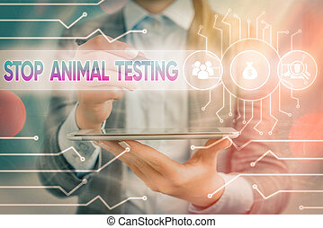Text sign showing Stop Animal Testing. Conceptual photo put an end on animal experimentation or research System administrator control, gear configuration settings tools concept.