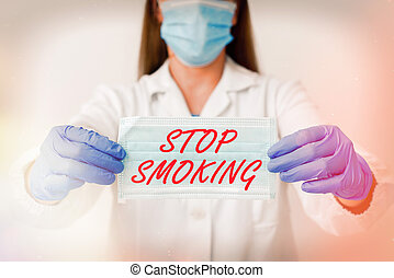 Text sign showing Stop Smoking. Conceptual photo the process of discontinuing or quitting tobacco smoking Laboratory blood test sample shown for medical diagnostic analysis result.