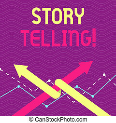 Text sign showing Storytelling. Conceptual photo activity writing stories for publishing them to public Two Arrows where One is Intertwined to the other as Team Up or Competition.