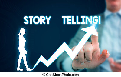 Text sign showing Storytelling. Conceptual photo activity writing stories for publishing them to public Female human wear formal work suit presenting presentation use smart device.