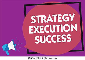 Text sign showing Strategy Execution Success. Conceptual photo putting plan or list and start doing it well Megaphone loudspeaker loud screaming purple background frame speech bubble.