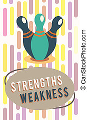 Text sign showing Strengths Weakness. Conceptual photo...