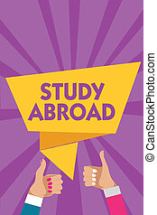 Text sign showing Study Abroad. Conceptual photo Pursuing educational opportunities in a foreign country Man woman hands thumbs up approval speech bubble origami rays background.