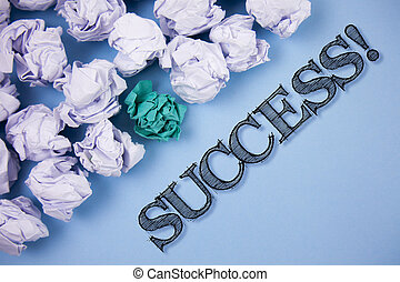 Text sign showing Success Motivational Call. Conceptual photo Achievement Accomplishment of some purpose written on the Plain Blue background Paper Balls next to it.