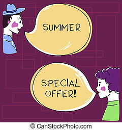 Text sign showing Summer Special Offer. Conceptual photo product or service that is offered at a very low price Hand Drawn Man and Wo analysis Talking photo with Blank Color Speech Bubble.