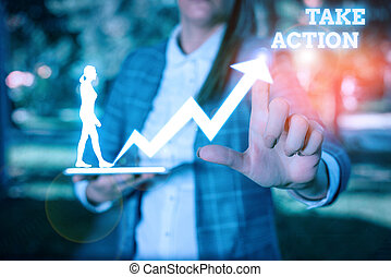 Text sign showing Take Action. Conceptual photo to do something To act in order to get a particular result.