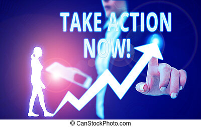 Text sign showing Take Action Now. Conceptual photo do something official or concerted achieve aim with problem Female human wear formal work suit presenting presentation use smart device.