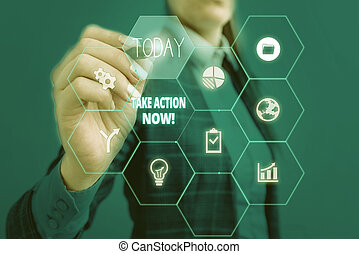 Text sign showing Take Action Now. Conceptual photo do something official or concerted achieve aim with problem Woman wear formal work suit present presentation using smart latest device.