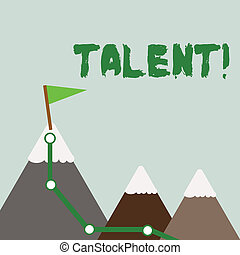 Text sign showing Talent. Conceptual photo Natural abilities of showing showing specialized skills they possess Three Mountains with Hiking Trail and White Snowy Top with Flag on One Peak.